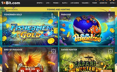 Ci sono anche giochi da casinò un po 'speciali in 1xBit Casino for Fishers and Hunters!