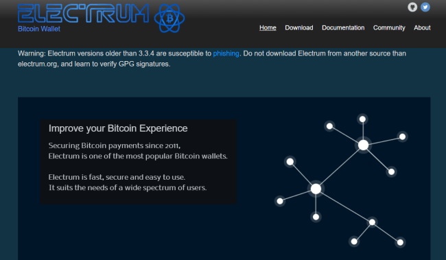 Screenshot di electrum.org